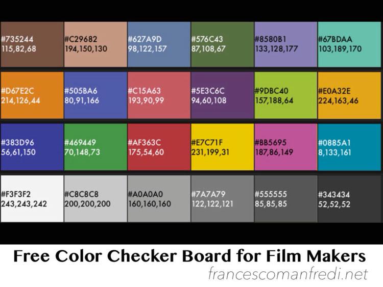 La mia Free Color Checker Board for Film Makers
